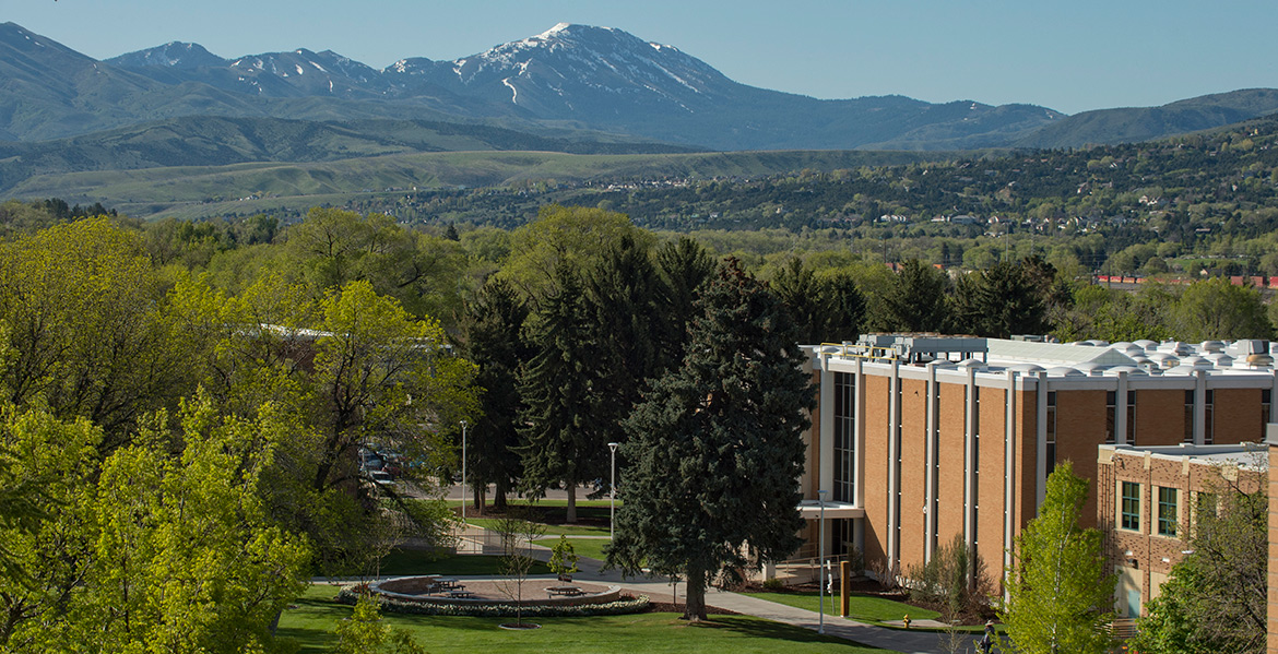 View of ISU Quad and nearby mountains