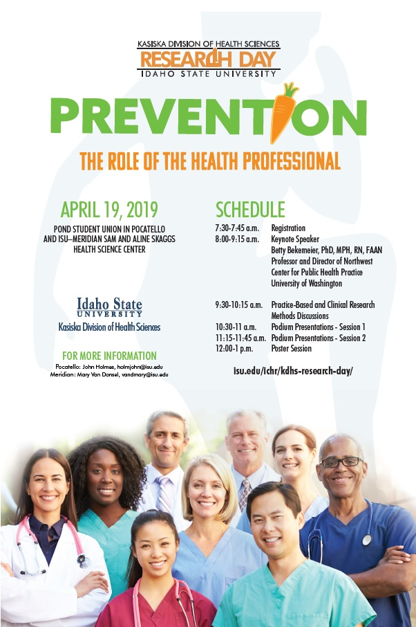 A flyer for ISU's 2019 Research Day. The theme is Prevention: The Role of the Health Professional