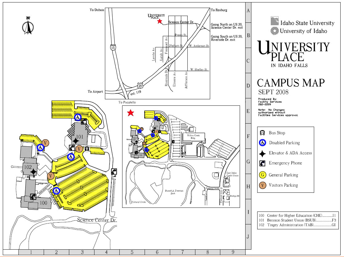 Map Parking Idaho State University