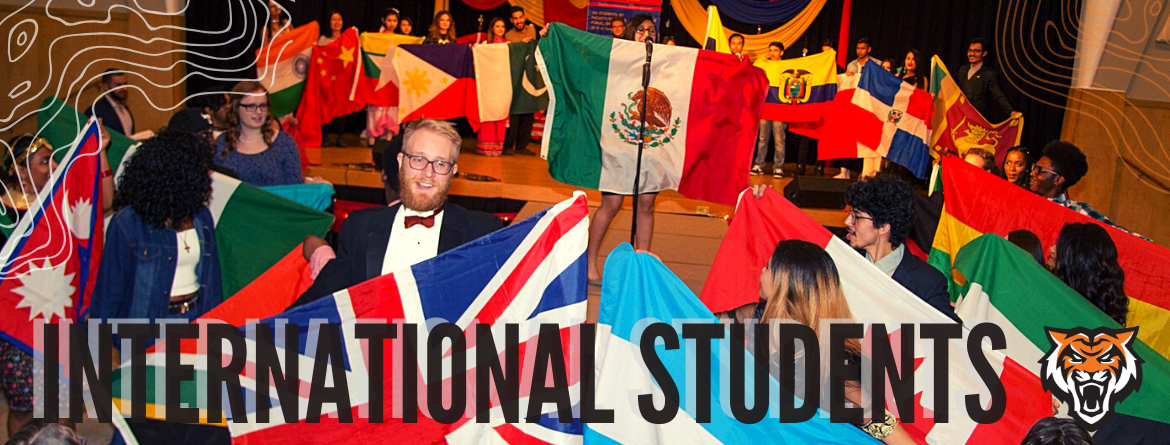 Group of students with flags