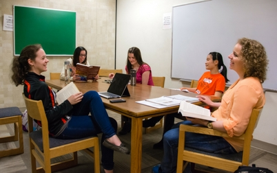 Students sitting in a study room