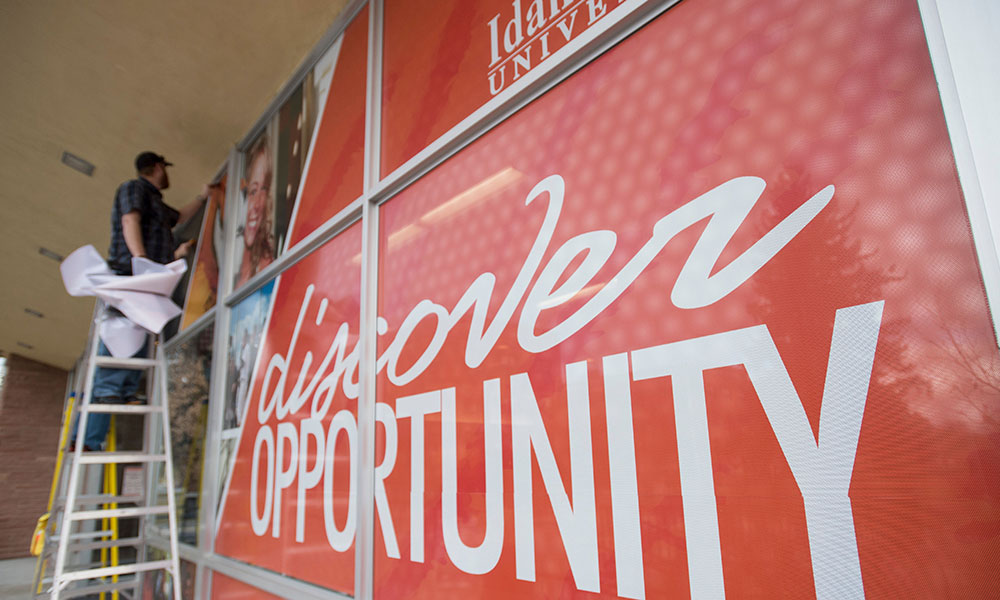 Discover Opportunity window cover at Student Union