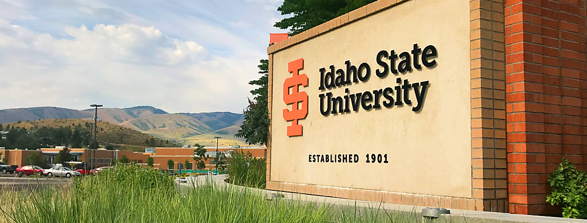 Idaho State University sign looking down campus