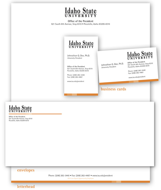 Idaho State University letter, envelopes, and business card