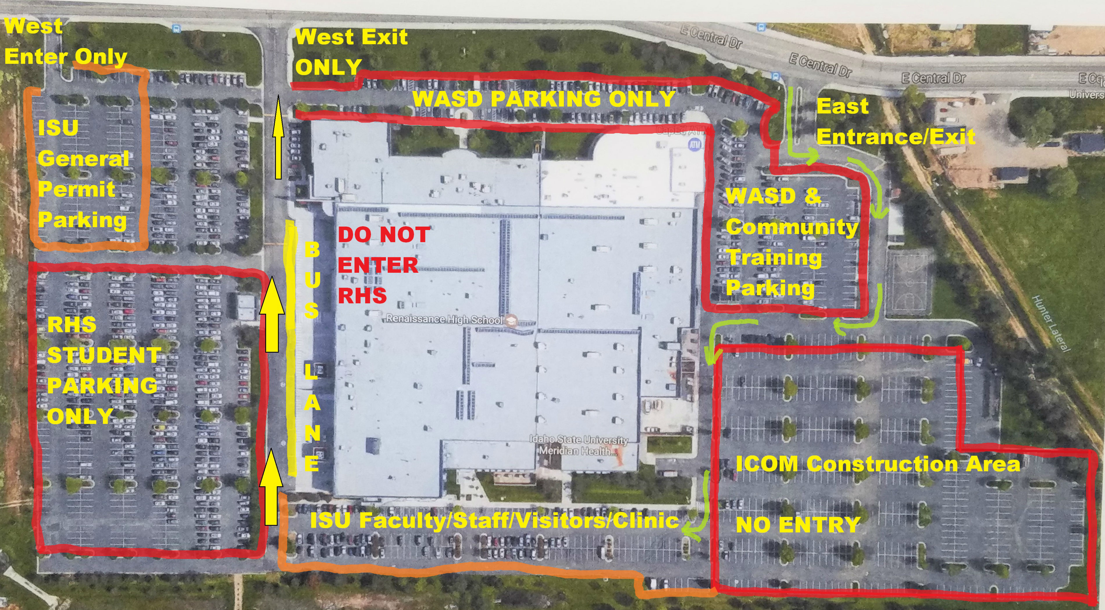 ISU Meridian map showing new designated parking areas