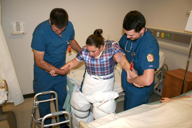 Accelerated nursing students apply classroom lesson in real world