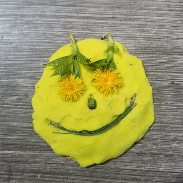 Play dough with a smiling face
