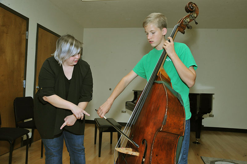 Bass Student taking lesson as part of the Preparatory String Program