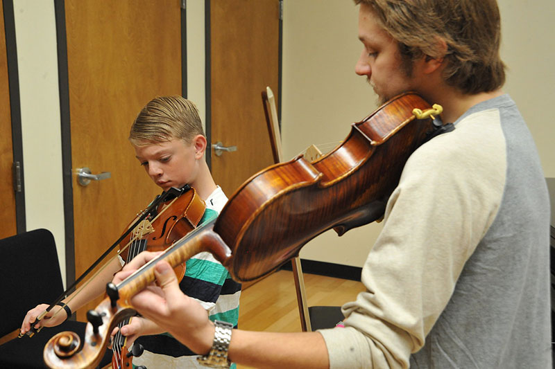 Viola Student taking lesson as part of the Preparatory String Program