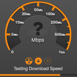 A screenshot of an active speedtest.