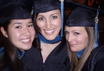 Three occupational therapy students graduating