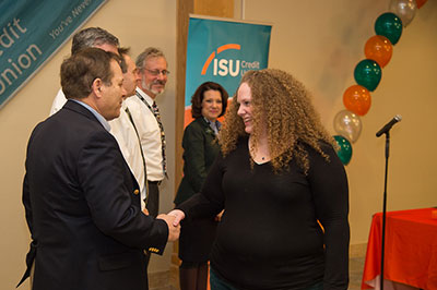 President Vailas congrates ISU cares award winner