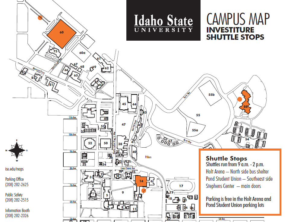 Map of campus showing shuttle stops
