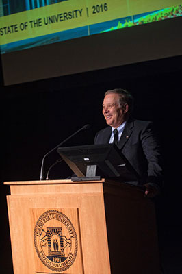 President Vailas giving State of the University Address