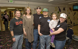 Laura Vailas joins officers of the ISU Veteran's Club at a family bowling party in the Pond SUB Feb 12.