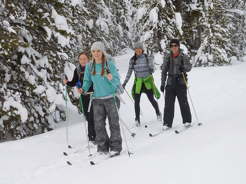 Students cross country skiing