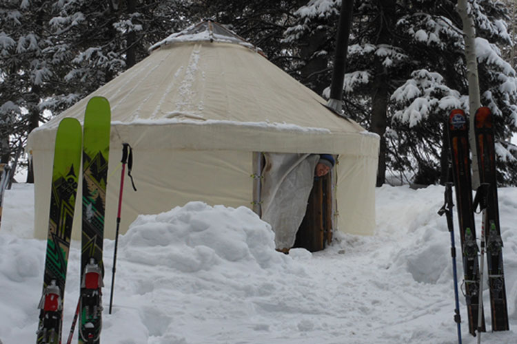 students in a yurt