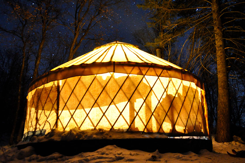 yurt at night