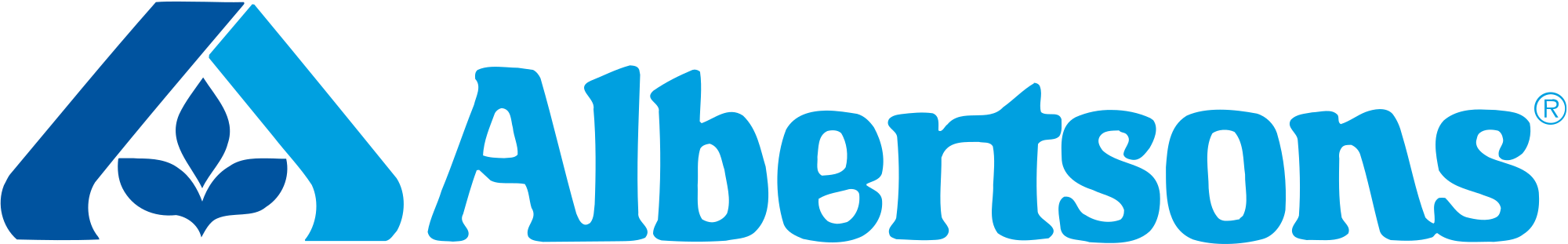 Blue and white logo for Albertsons with leaf pattern on the left
