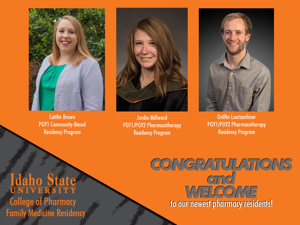 Orange and gray background with 3 photos of pharmacy residents.