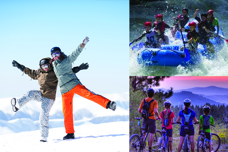 Snow boarders, rafters and mountain bikers enjoy Idaho's varying outdoor activities