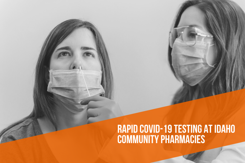 Pharmacist performs a nasal swab on patient for COVID-19 testing