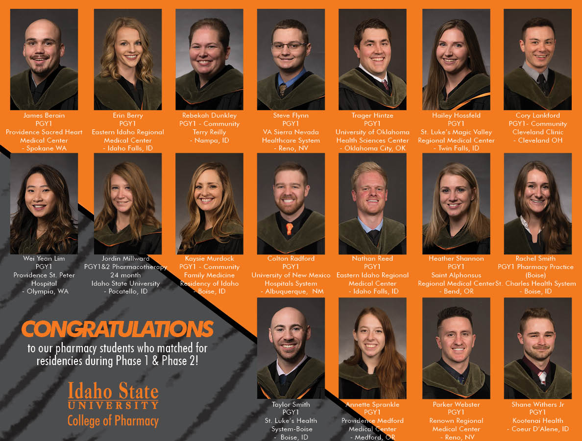 Orange and black background with 24 graduates photos