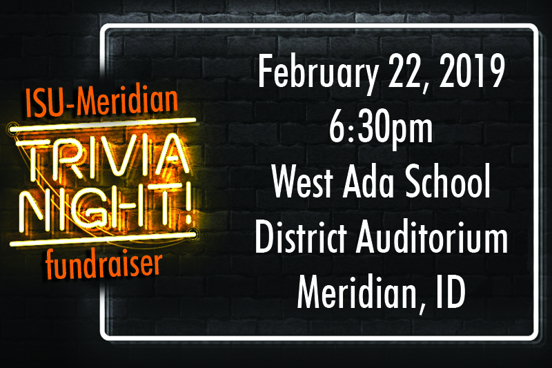 ISU Meridian Trivia Night announcement on black brick with neon lights