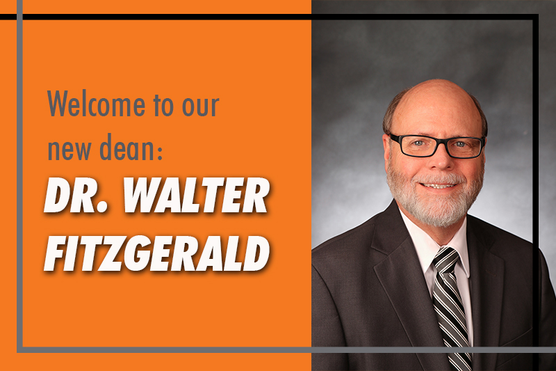 Orange background with white lettering welcoming walter fitzgerald as the new dean for the college of pharmacy, with his professional headshot in black glasses, tie, and jacket