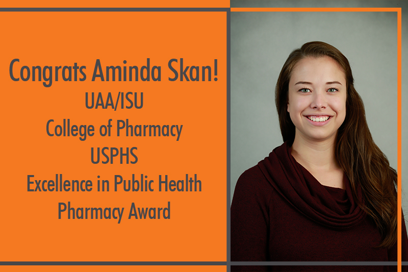 Aminda Skan photo in red sweater with text about the USPHS award