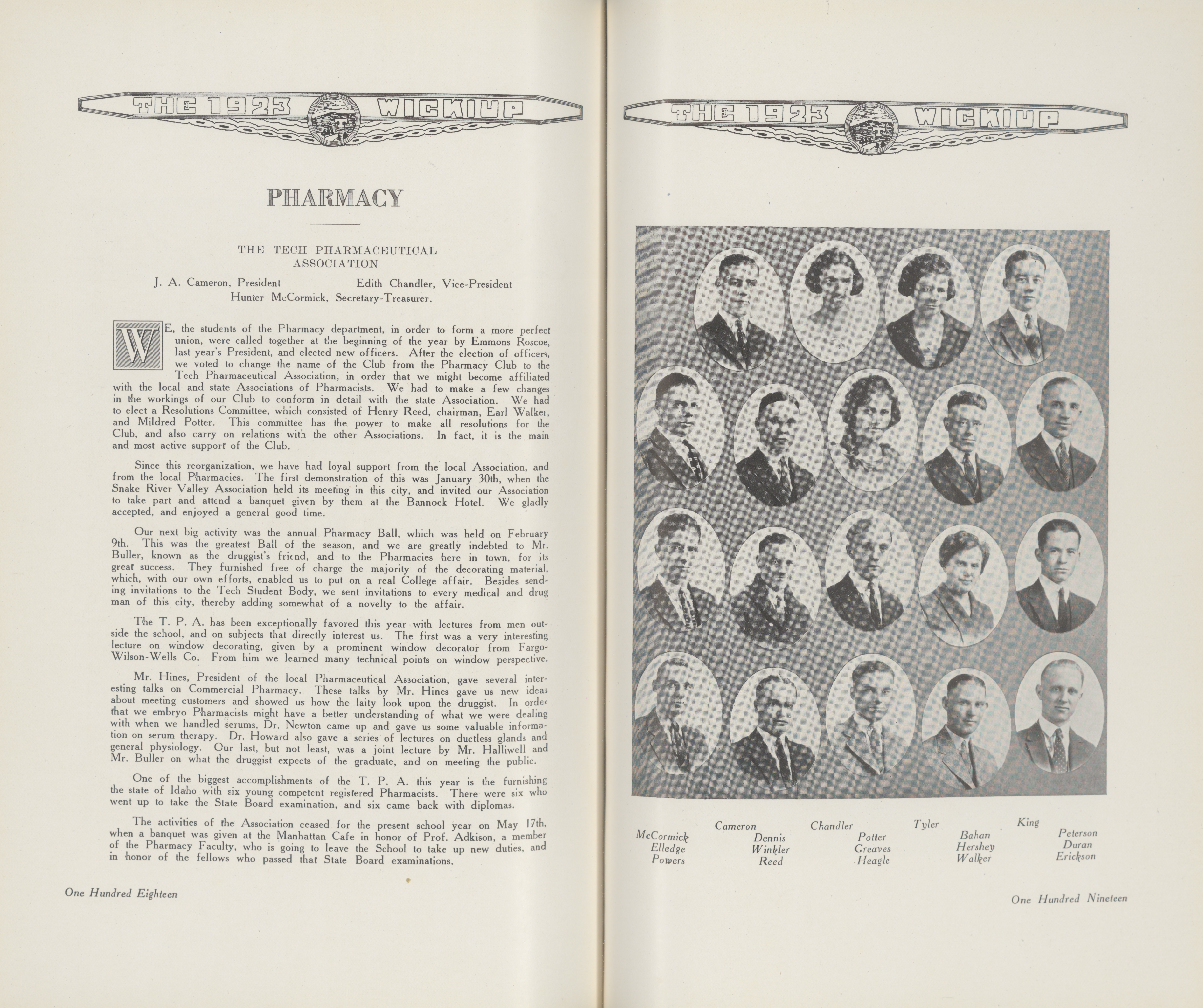 1923 Wickiup photo of pharmacy students