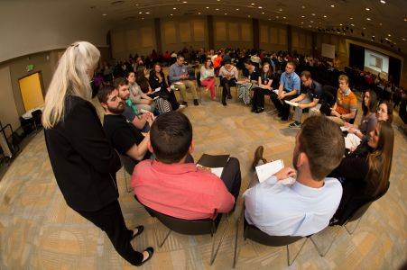 research day a group of people in a circle