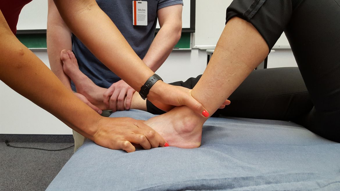 Physical Therapy being done on an ankle.
