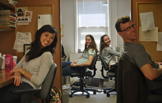 Graduate students in their office