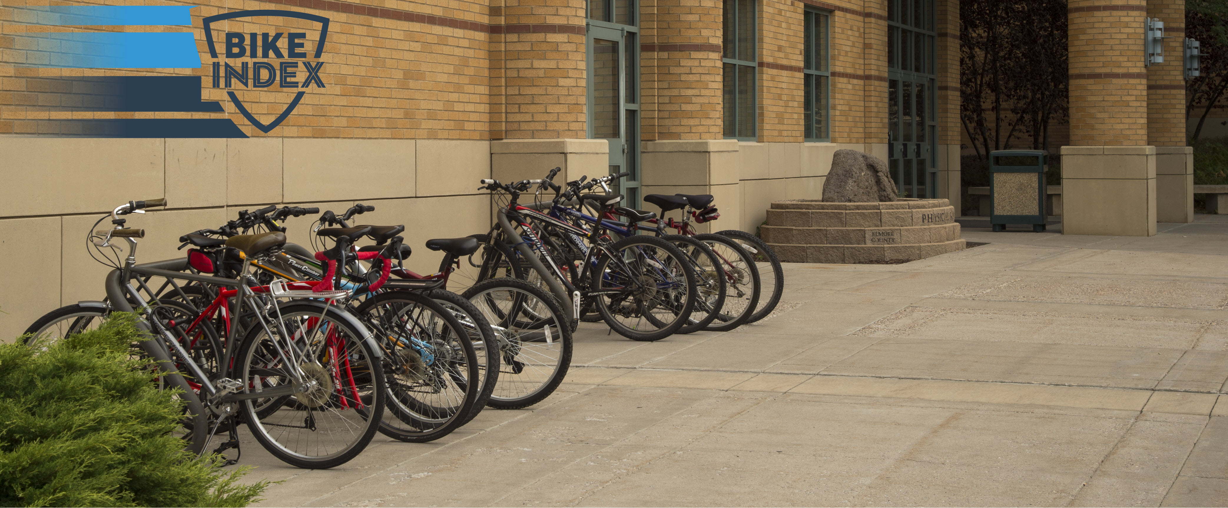Bikes Outside Physical Science Building with Bike Index Logo