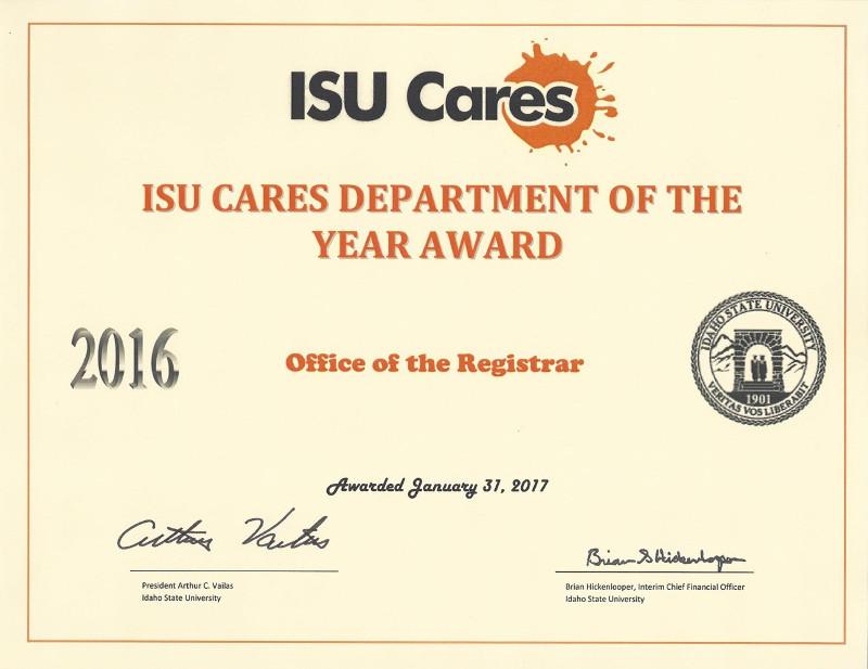 Isu Academic Calendar.Dept Of The Year Award Idaho State University