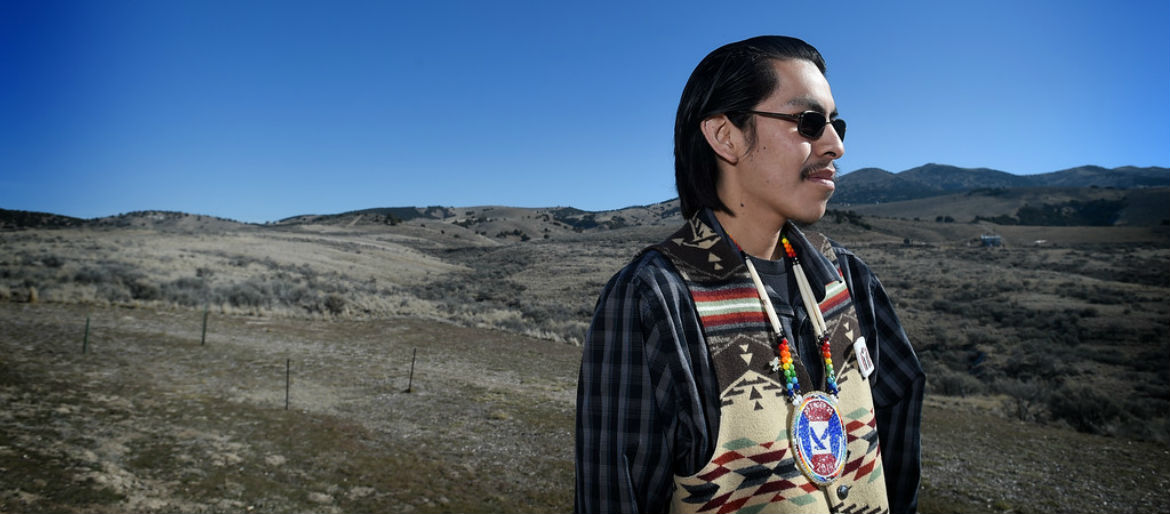 photo of young Bannock native American standing outdoors