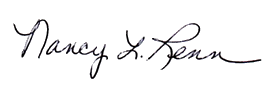 A picture of Dr. Nancy Renn's signature