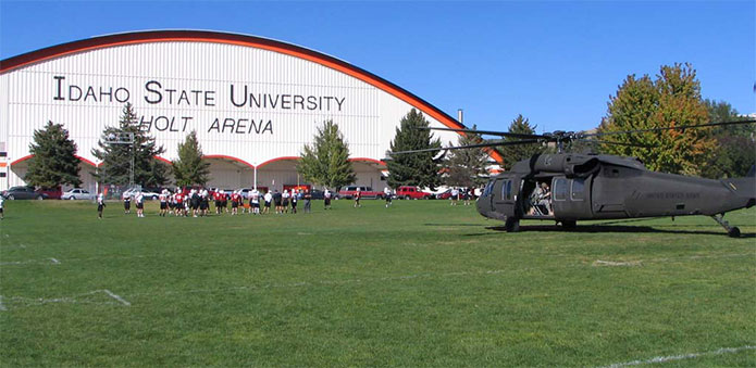 Helicopter in front of the Holt Arena