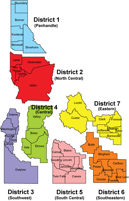 Map of Idaho with health districts highlighted