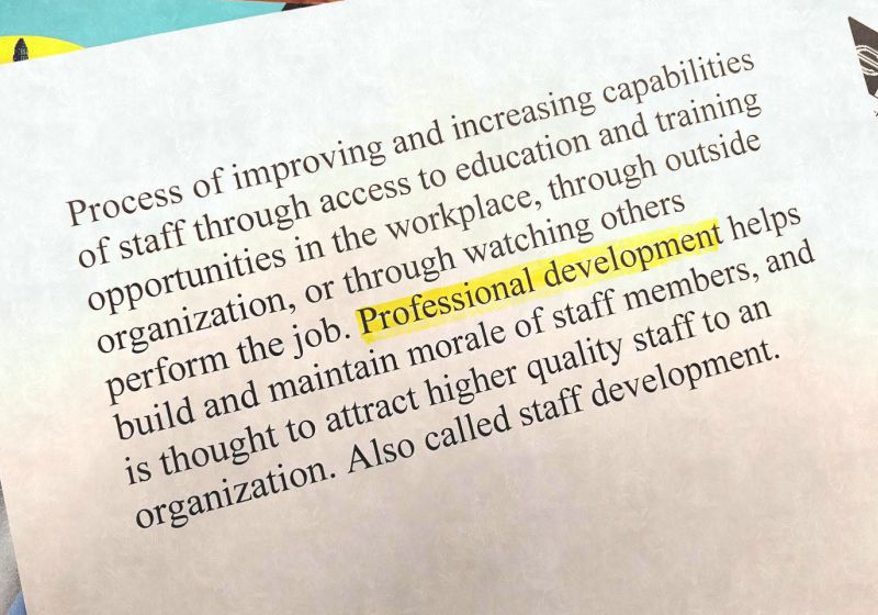 Words stating definition of Professional Development with Professional Development highlighted