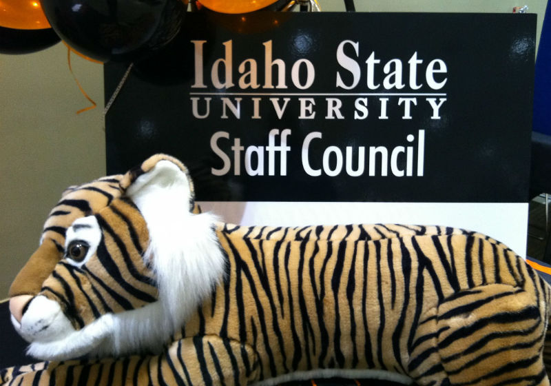 small Staff Council banner with stuffed tiger in front
