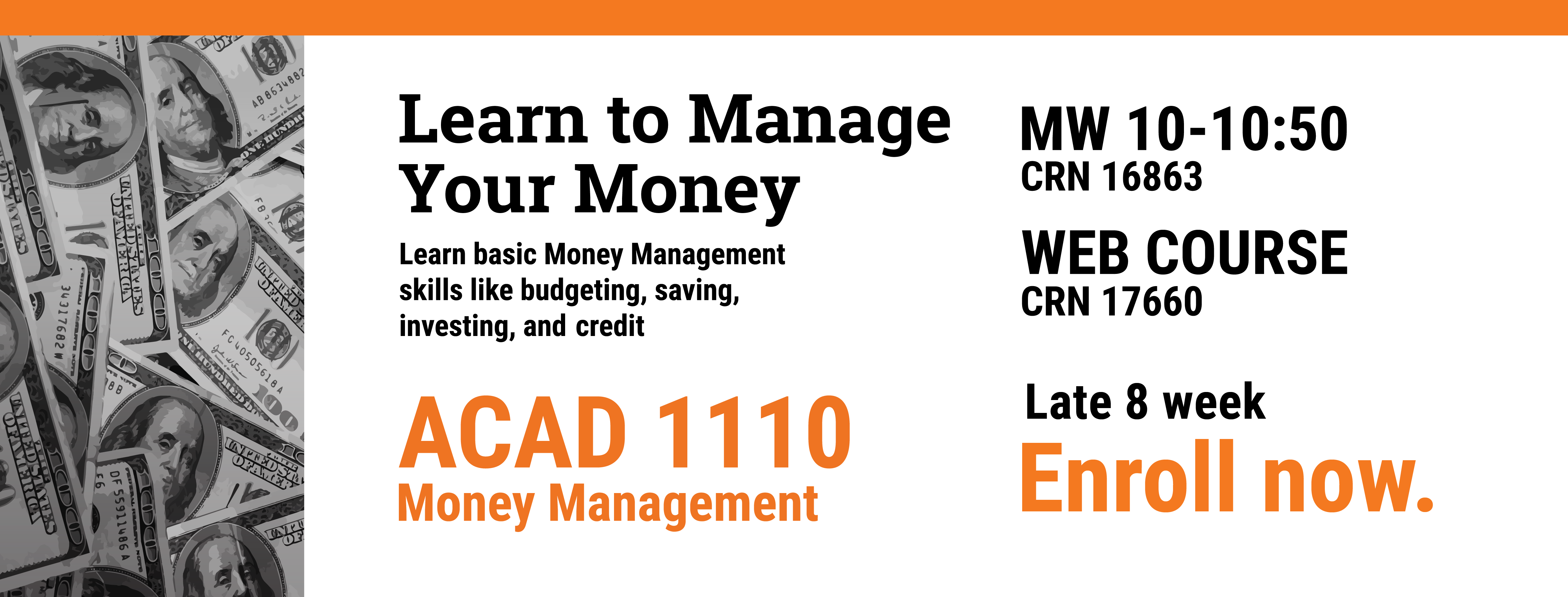 Enroll for ACAD 1110 Money management  in bengal web