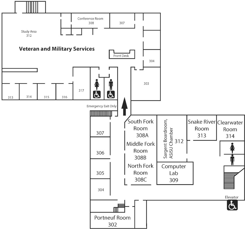 MAp of Student Union third floor