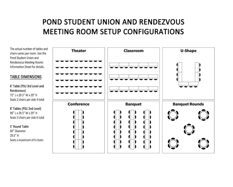 Facilities Rooms Audio Visual Idaho State University - Conference room table dimensions
