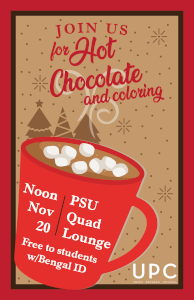 UPC Hot Chocolate and Coloring at noon in the Quad Lounge