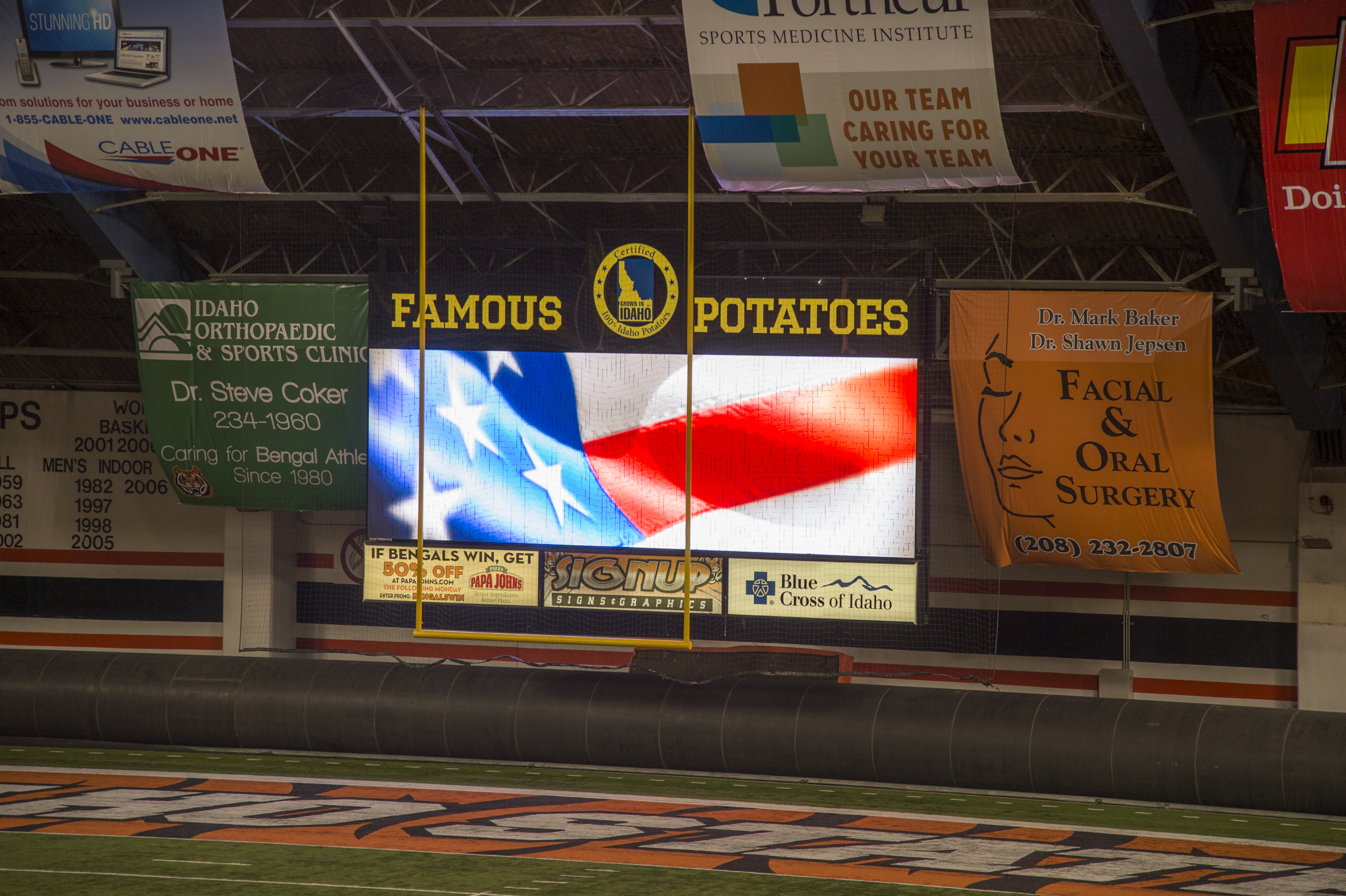 Idaho State University's new Holt Arena video board almost online; American Falls High School gets old scoreboard