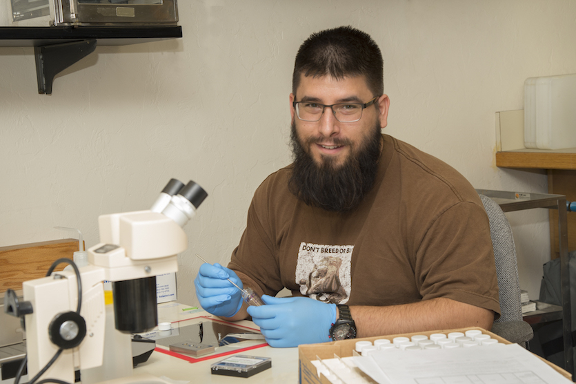 ISU undergrad Jeremy Starkey, a MILES and MURI researcher, is working with beetles to improve ecosystems