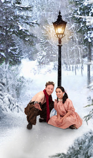 Students Jack Johnson and Alisha Hunter prepare for their roles at Tumnus and Lucy in Idaho State University's production of