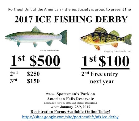 Fishing Derby Flyer showing $500 prize for trout, $100 for perch.